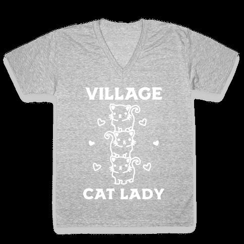 Village Cat Lady V-Neck Tee Shirt
