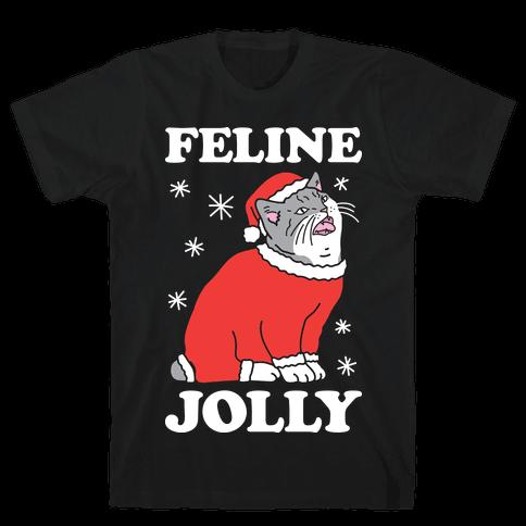 Feline Jolly Cat Mens T-Shirt