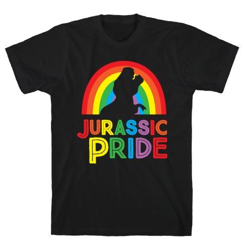Jurassic Pride Parody White Print  Mens T-Shirt