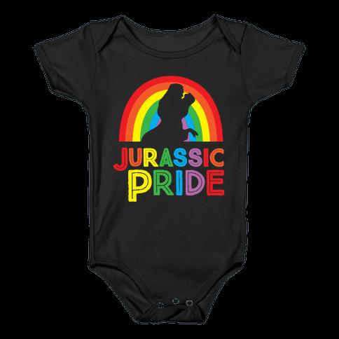 Jurassic Pride Parody White Print  Baby Onesy