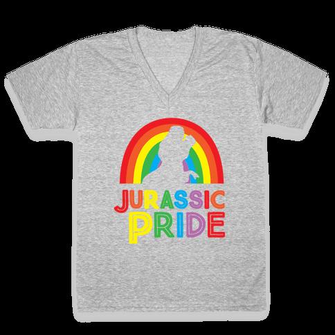 Jurassic Pride Parody White Print  V-Neck Tee Shirt