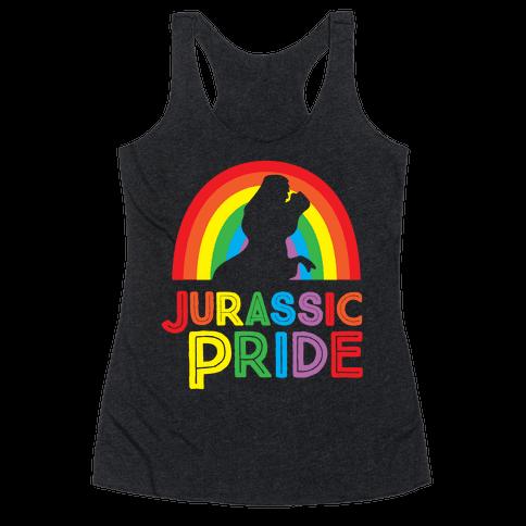 Jurassic Pride Parody White Print  Racerback Tank Top