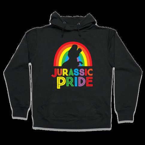 Jurassic Pride Parody White Print  Hooded Sweatshirt