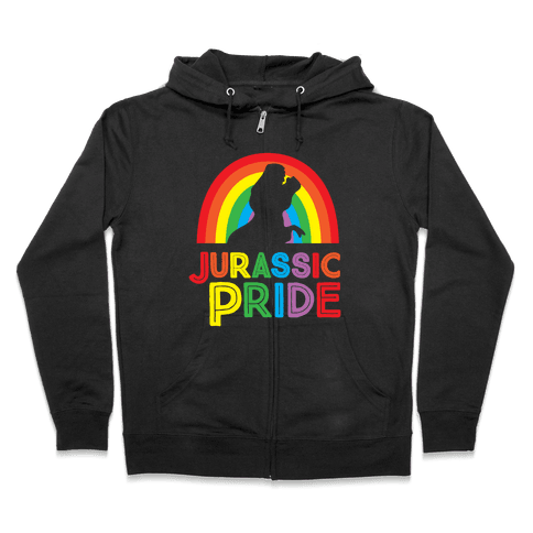 Jurassic Pride Parody White Print  Zip Hoodie