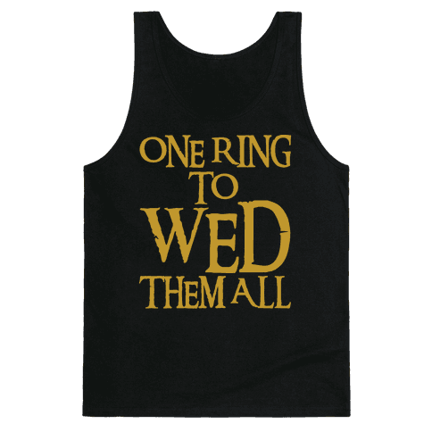 One Ring To Wed Them All Parody White Print Tank Top