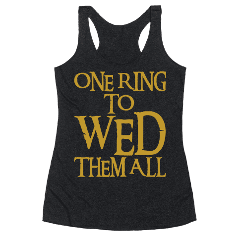 One Ring To Wed Them All Parody White Print Racerback Tank Top