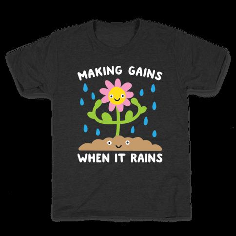 Making Gains When It Rains Flower Kids T-Shirt