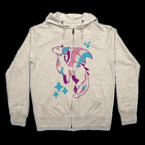 Trans Pride Dragon Zip Hoodie