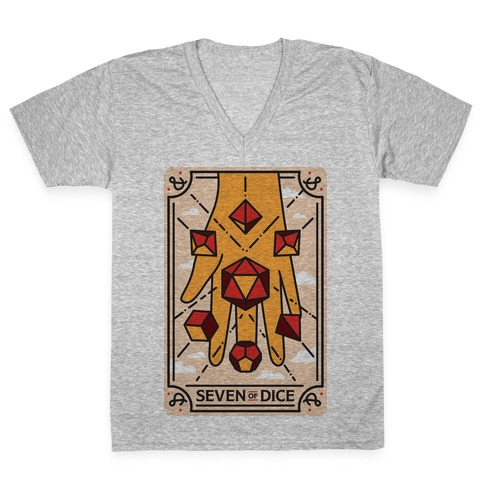 Seven of Dice - D&D Tarot V-Neck Tee Shirt