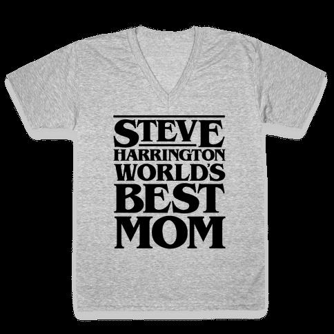 Steve Harrington World's Best Mom Parody V-Neck Tee Shirt