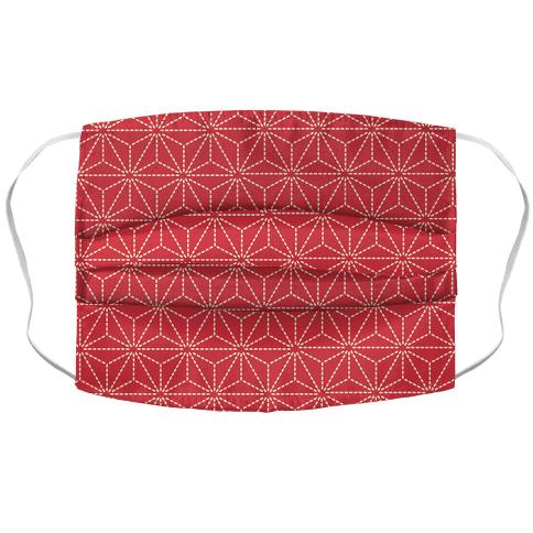 Sashiko Asanoha (Red) Face Mask Cover