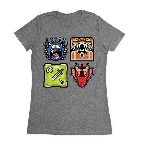 Pixel DnD Monsters Womens T-Shirt