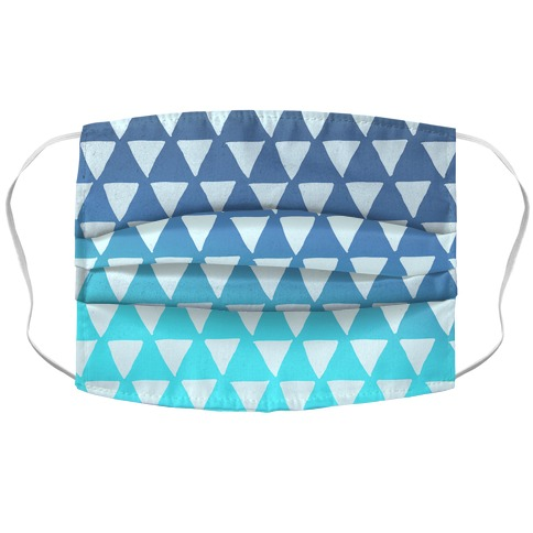 Triangle Blue Ombre Pattern Accordion Face Mask