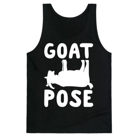 Goat Pose White Print Tank Top