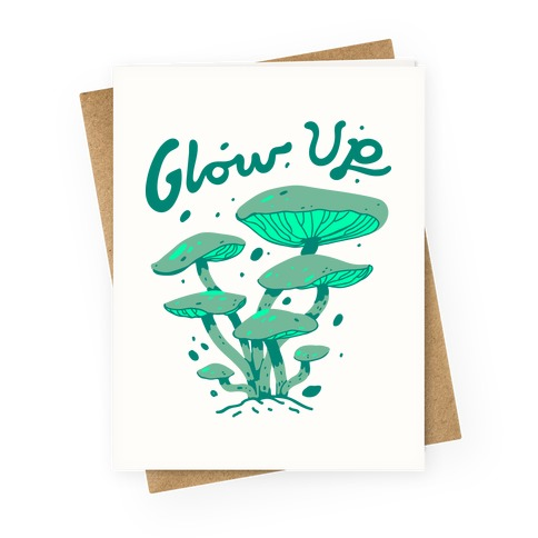Glow up Bioluminescent Mushrooms Greeting Card