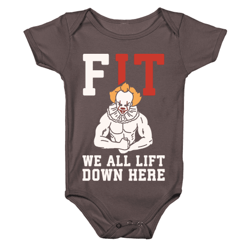 Fit We All Lift Down Here Parody White Print Baby One-Piece