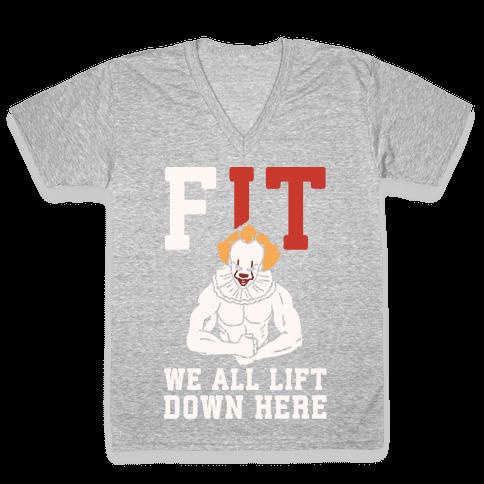 Fit We All Lift Down Here Parody White Print V-Neck Tee Shirt