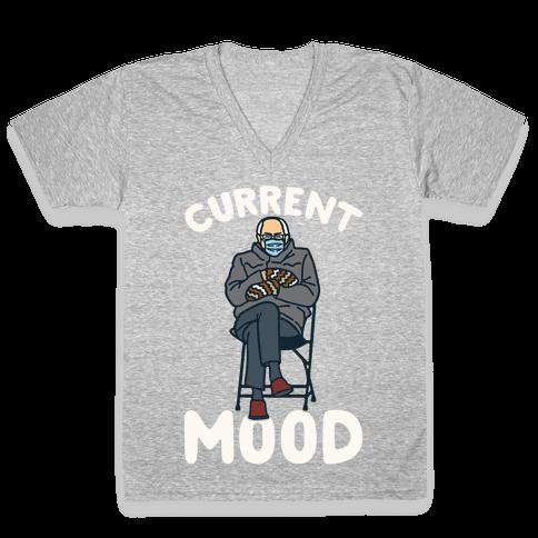 Current Mood Sassy Bernie Sanders White Print V-Neck Tee Shirt