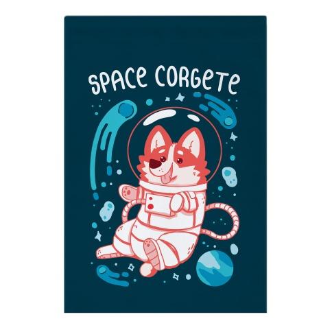 Space Corgete Garden Flag