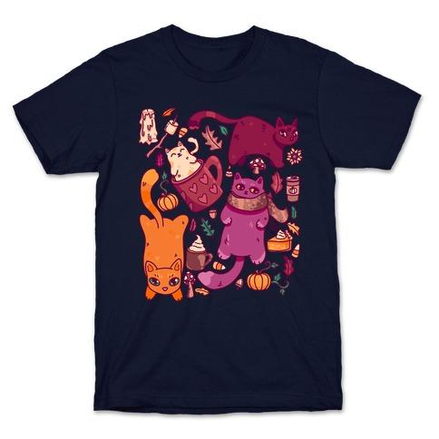 Fall Cats Pattern T-Shirt