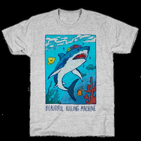 Beautiful Killing Machine Shark Mens T-Shirt