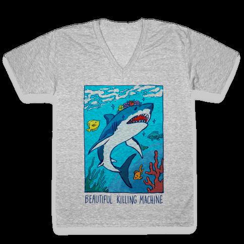 Beautiful Killing Machine Shark V-Neck Tee Shirt