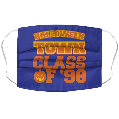 Halloween Town Class of '98 Parody White Print Accordion Face Mask