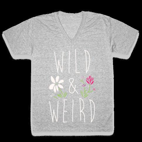 Wild & Weird White Print V-Neck Tee Shirt