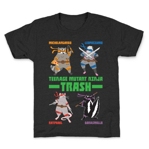 Teenage Mutant Ninja Trash TMNT Parody Kids T-Shirt