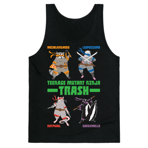 Teenage Mutant Ninja Trash TMNT Parody Tank Top