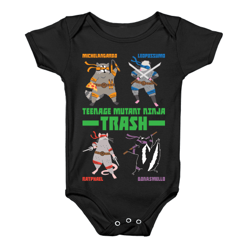 Teenage Mutant Ninja Trash TMNT Parody Baby Onesy