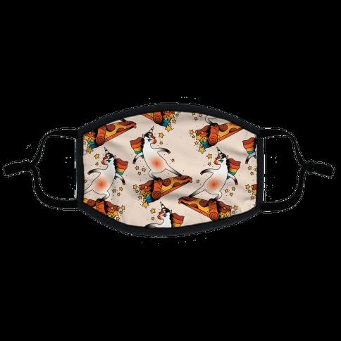 Rad Unicorn Skateboarding a Pizza Tattoo Flat Face Mask