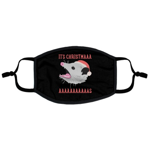 It's Christmas Screaming Opossum Flat Face Mask