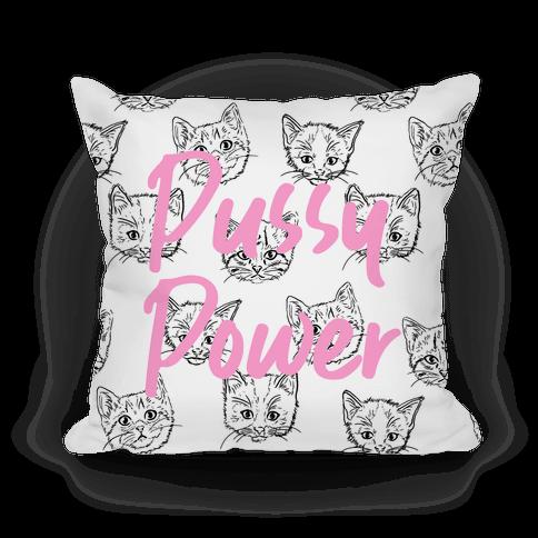 "Pink ""Pussy Power"" Black and White Feminist Kitten Pillow"