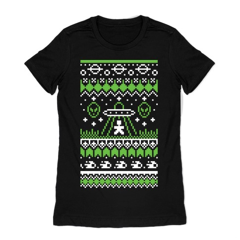 Ugly Alien Christmas Sweater Womens T-Shirt
