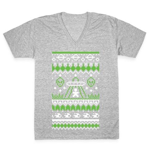 Ugly Alien Christmas Sweater V-Neck Tee Shirt