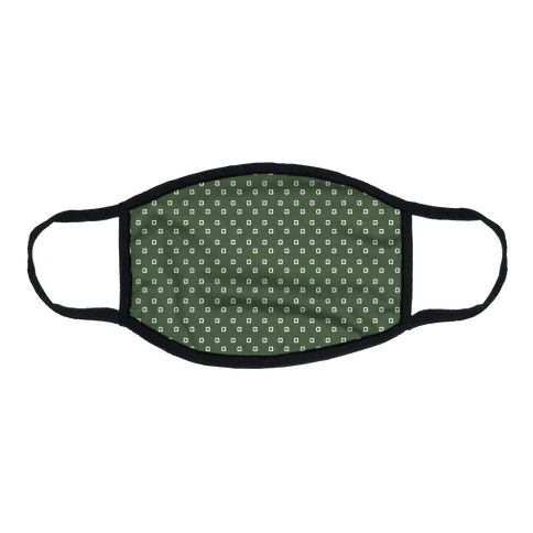 Dainty Squares Pattern Chive Green Flat Face Mask