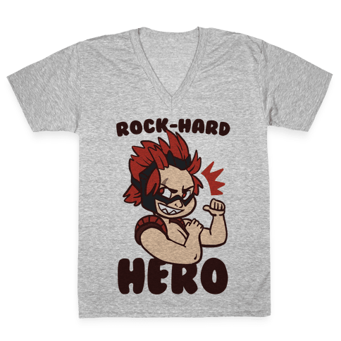 Rock-Hard Hero - Kirishima  V-Neck Tee Shirt