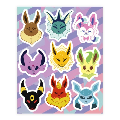 Eeveelution Sticker and Decal Sheet