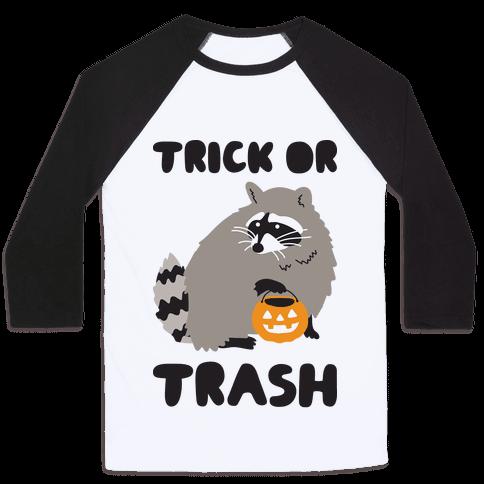 Trick Or Trash Raccoon Baseball Tee