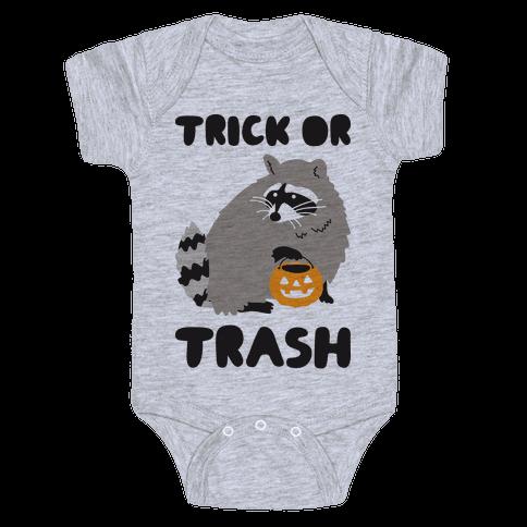 Trick Or Trash Raccoon Baby Onesy