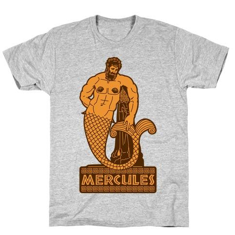 Mercules Merman Hercules Parody White Print T-Shirt