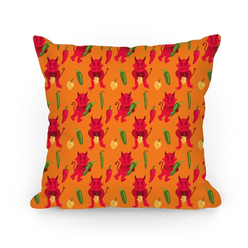 Spicy Demons Pattern Pillow