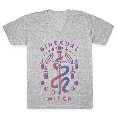 Bihexual Witch Bisexual Pride Colors V-Neck Tee Shirt