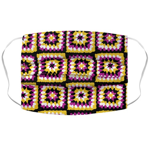 Granny Squares Pattern (Nonbinary Pride) Accordion Face Mask