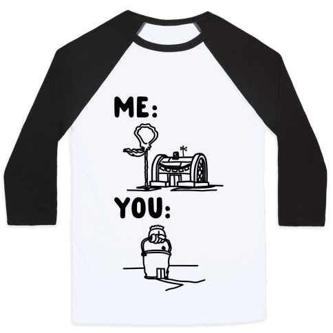 Me Vs. You Crust Chum Meme Parody Baseball Tee