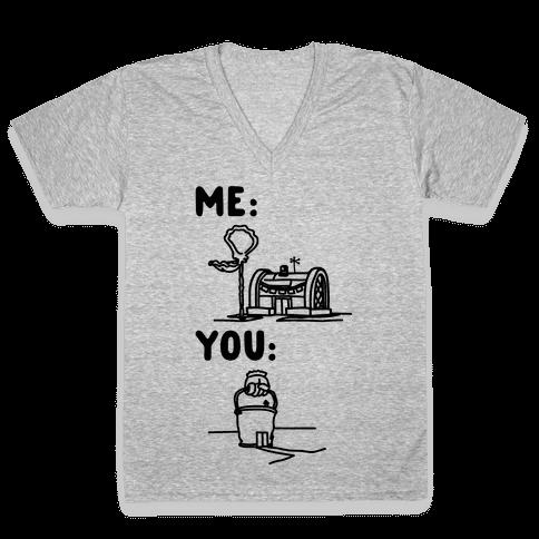 Me Vs. You Crust Chum Meme Parody V-Neck Tee Shirt