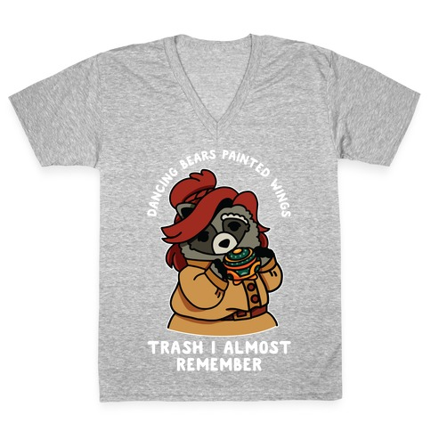 Dancing Bears Painted Wings Trash I Almost Remember Raccoon Anastasia  V-Neck Tee Shirt