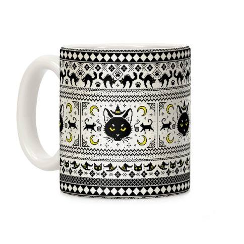 Witchy Black Cats Ugly Sweater Coffee Mug
