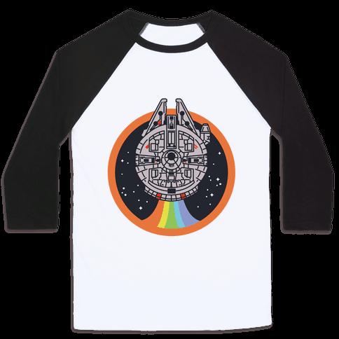 Retro Rainbow Falcon Baseball Tee